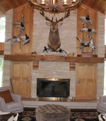 Lake House wood burning fireplace